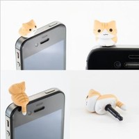 eFuture(TM) 2Pcs x Yellow Cheese Tabby Cat Universal 3.5mm Anti Dust Earphone Jack Plug Cap for iPhone4 4S/5,iPod,iPad,HTC,Samsung +eFuture's nice Keyring