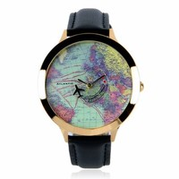 ZLYC Women Fashion Vintage Retro World Map Faux Leather Round Face Wrist Watch Black