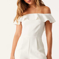 Oh My Love Waterlilly Off-The-Shoulder Ruffle Romper | Urban Outfitters