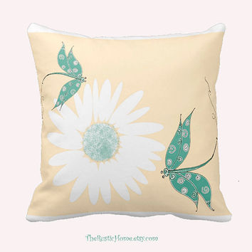 Dragonfly toss pillow dragonflies and daisies square 16x16