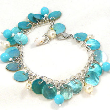 Turquoise Shell Bracelet Pearls Summer Beach Fashion Jewelry