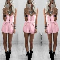 Pink Sheer Strappy Rompers Jumpsuits