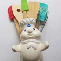 Vintage Poppin' Fresh Pillsbury Doughboy Ceramic Kitchen Utensil Holder 1988