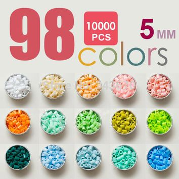 10,000pcs 5mm hama beads (98colors+1 big template+5 iron papers+2 tweezers) fuse/perler beads diy educational toys kids craft