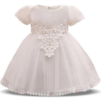 Vintage Lace Christening Gown Infant Princess Party Costume Baby Girl 1st Birthday Outfit Flower Wedding Bridal Dress baptism