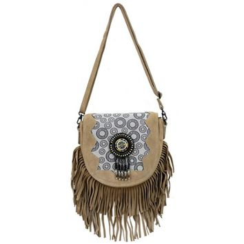 Women's Cara Suede Leather Fringe Clutch In Natural