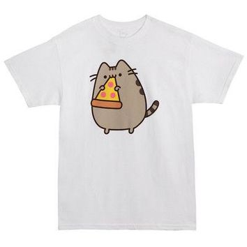 Pusheen The Cat with Pizza Slice Licensed Adult T-Shirt - White