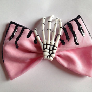 Pastel Goth Dripping Skeleton Hand Hair Bow Skull Pink Melting Gothic Goth Creepy Cute