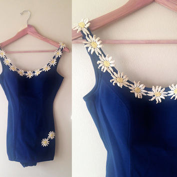 1960s Catalina Swimsuit / Daisy Blues Suit / Vintage Early 60s One Piece / XS