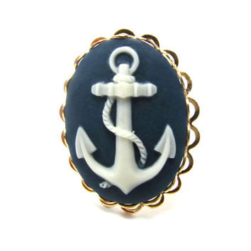 Anchor Cameo Ring  Nautical Navy Blue and by GalvestonTradingCo