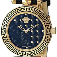 Versace Women's 'Micro Vanitas' Swiss Quartz Stainless Steel and Leather Casual Watch, Color:Black (Model: VQM010015)