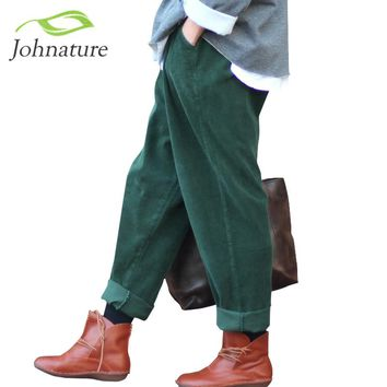 Johnature 2017 Women Corduroy Pants Vintage Autumn Winter Casual Thicken Warm Elastic Waist Loose Cotton Pleated Trouser
