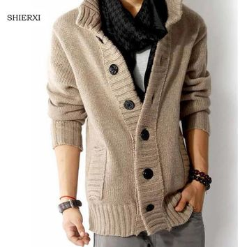 Autumn and Winter Men knitting Cardigan Thick stand collar Sweater Coat  Casual Jacket