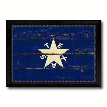 Texas History Lorenzo De Zavala Military Flag Vintage Canvas Print with Black Picture Frame Home Decor Wall Art Decoration Gift Ideas