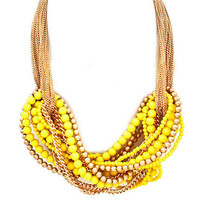 Pree Brulee - Orientalist Statement Necklace - Yellow