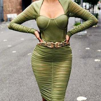 Samantha Olive Green Mesh Long Sleeve Ruched Bandage Dress