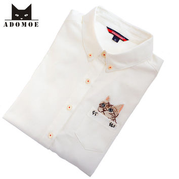 S-XL Cute Sweet Cat in Pocket Preppy style Mori girls Long sleeve Shirts Women Harajuku Casual Japanese White Cotton Blouses