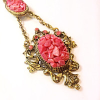 Vintage Coral Chip Necklace Goldtone Cameo Bolero style