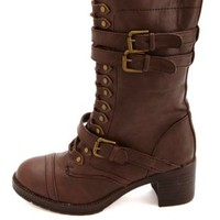 Bamboo Belted Mid-Heel Combat Boots by Charlotte Russe - Brown