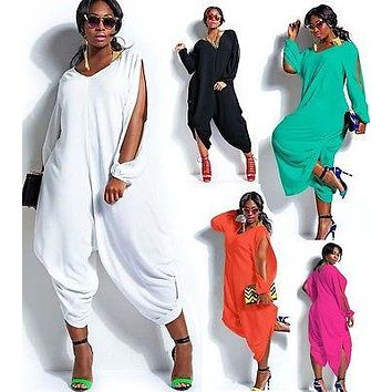 Fashion Womens Long Sleeve  Baggy Harem Jumpsuit Plus Size