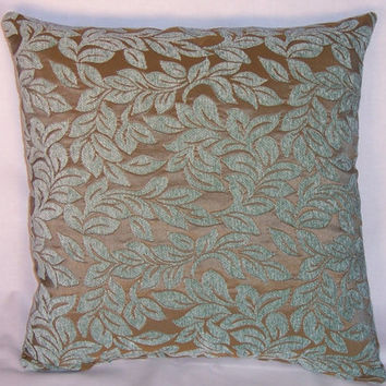 """Aqua Leaf Chenille Pillow, Soft Teal and Gold / Taupe, 16"""" Square, Ready to ship, Cover and Insert"""