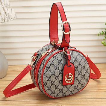 GUCCI Newest Fashionable Women Leather Circular Handbag Tote Crossbody Satchel Shoulder Bag Red