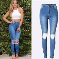 Blue High Waist Ripped Stretch Skinny Jeans