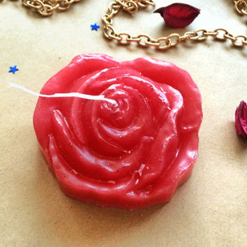 Red rose candle, romantic candle, aroma candle, gift for girl, flower candles, glitter candle, decor with roses, wedding candle