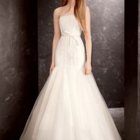 Strapless Satin and Organza Fit and Flare Gown - Davids Bridal
