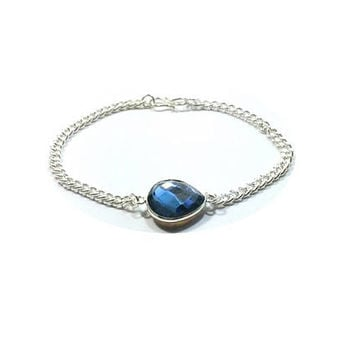 Faceted Blue Topaz Bracelet , Sterling Silver Blue  Rainbow Topaz Bracelet  , Sterling Silver  Chain
