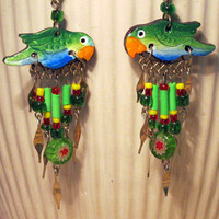 Amazon Parrot Earrings Handmade Limited Edition