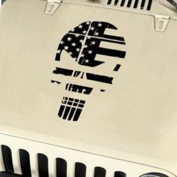 Distressed American Flag Punisher Skull Vinyl Decal fits: Jeep Trucks Universal