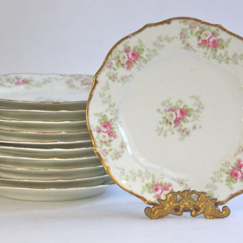 Pink Roses Luncheon Plates / French Limoges / Sets of 4