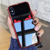 Fendi Fashion Women Men Glass Cute Eye Pattern Cellphone Case All-Inclusive For iphone 6 6s 6plus 6s-plus 7 7plus iphone 8 iphone X Protective Shell Black/Red I12711-1
