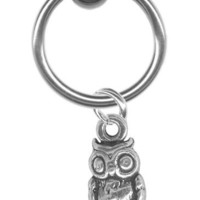 18 gauge Earring-Sterling Silver Owl Captive Ring-18 gauge 5/16 inch-Cartilage Earring-Tragus Jewel