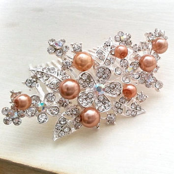 Pearl Bridal Hair Accessories, Crystal Hair Combs Wedding Flower
