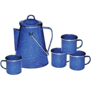 Stansport - Enamel 8-Cup Coffee Pot with Percolator & Four 12-Ounce Mugs
