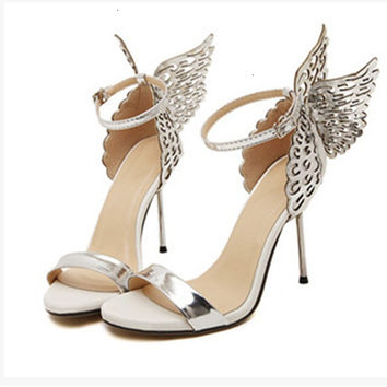 Lady Novelty Fashion Butterfly Wing top selling Buckle strap Round Toe Nigh club thin high heels sandals Women Party Pumps