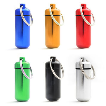 2017 6pcs Waterproof Mini Pill Box Case Medicine Bottle Holder Container Pill Keychain Key Chain Organizer Case (Random Color )