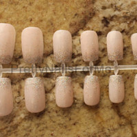 Light Pink with Falling Glitter Tips Fake Nail Set