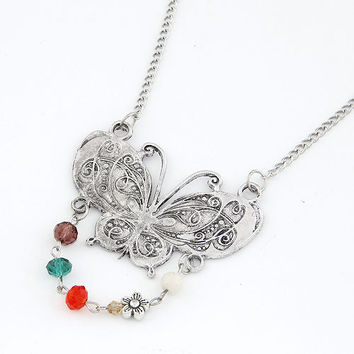 Retro All-matching Silvery Butterfly-shaped Sweater Chain, Clothing Accessory, Party Jewelry, Birthday Gifts, Valentine's Day Gift 11041262
