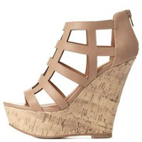 Beige Lattice Cut-Out Caged Platform Wedges by Charlotte Russe