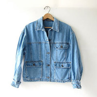 20% OFF SALE Vintage denim Jean Jacket. Cropped Jean Jacket. Washed Out Jean Jacket. Buckled Cuffs.