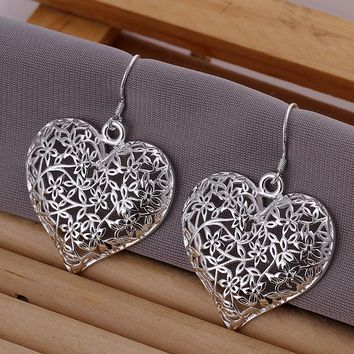 High-quality 925 stamped silver plated Tree of life Hollow Flower Heart earrings Fashion New Jewelry Brincos de Prata for Mujer