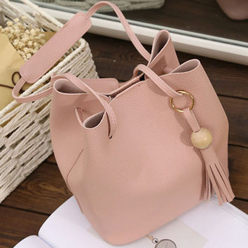 Casual Women  Bucket Bags Solid Color String Tassel Fresh Style Pinkycolor Shopping Shoulder Bags For Female PU Simple Bags