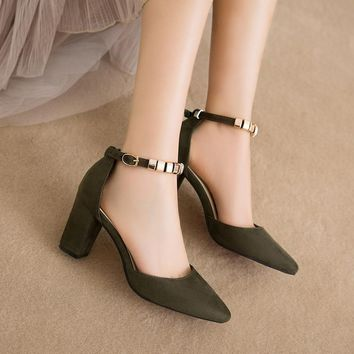 Beadings Ankle Wrap Pointed Toe Low Cut Low Chunky Heels