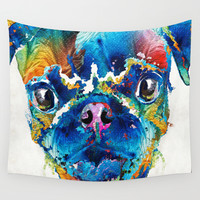 Colorful Pug Art - Smug Pug - By Sharon Cummings Wall Tapestry by Sharon Cummings