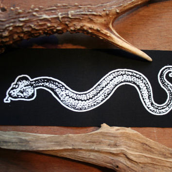 Adder snake patch -  slytherin patch, horrow patch witch patch, nu goth patch, animal occult patch, wiccan screen print patch dark mori