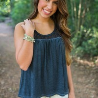 Cotton Navy Crocheted Tank