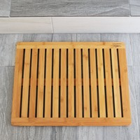 "Bathroom Mat by EcoTrueBamboo - Square Bamboo Bath Mat with Drain holes - Non Slip Bathroom Floors, Kitchen Decor, Pool Equipment, Shower Stalls and Bathtubs – Mold & Mildew Resistant | Size 23"" x 17"""